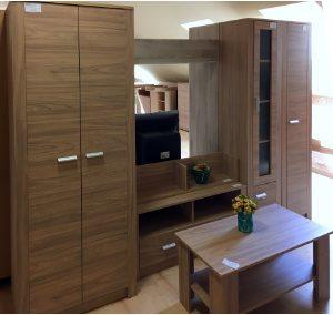 Open szekrénysor (szélesség: 290cm, 123.000,-Ft) + dohányzóasztal (18.050,-Ft)