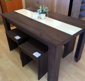 Étkezőgarnitúra (1db asztal + 4db ülőke, méret: 140x85cm, 67.960,-Ft)